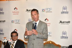 Arne Sorenson, President and CEO Marriott International, speaking at the signing ceremony of Tahseen